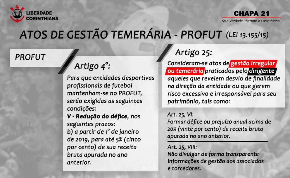 Quadro sinótico - Atos de Gestão Temerária - PROFUT (Lei 13.155/15): Art. 4: A partir de 2019, redução do déficit para até 5% da receita bruta do ano anterior (2018). Art. 25, VI: Formar déficit ou prejuízo anual acima de 20% da receita bruta do ano anterior. Art. 25, VIII: Não divulgar com transparência as informações de gestão aos associados e torcedores.